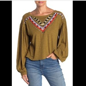 Free People Embroidered long sleeve scoop neck Top